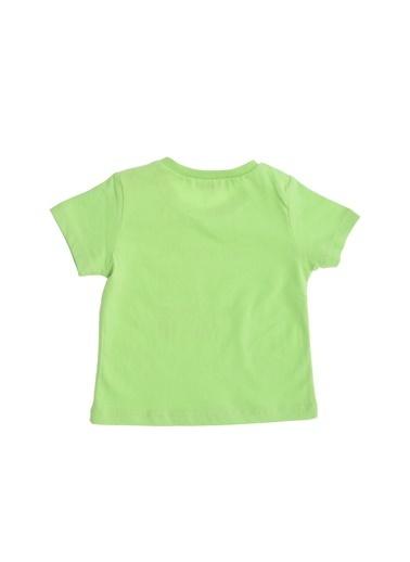 Limon Company 71Bas Yuvarlak Yaka Uzun Baskılı Pamuklu Kısa Kollu Bebek Tshirt Yeşil